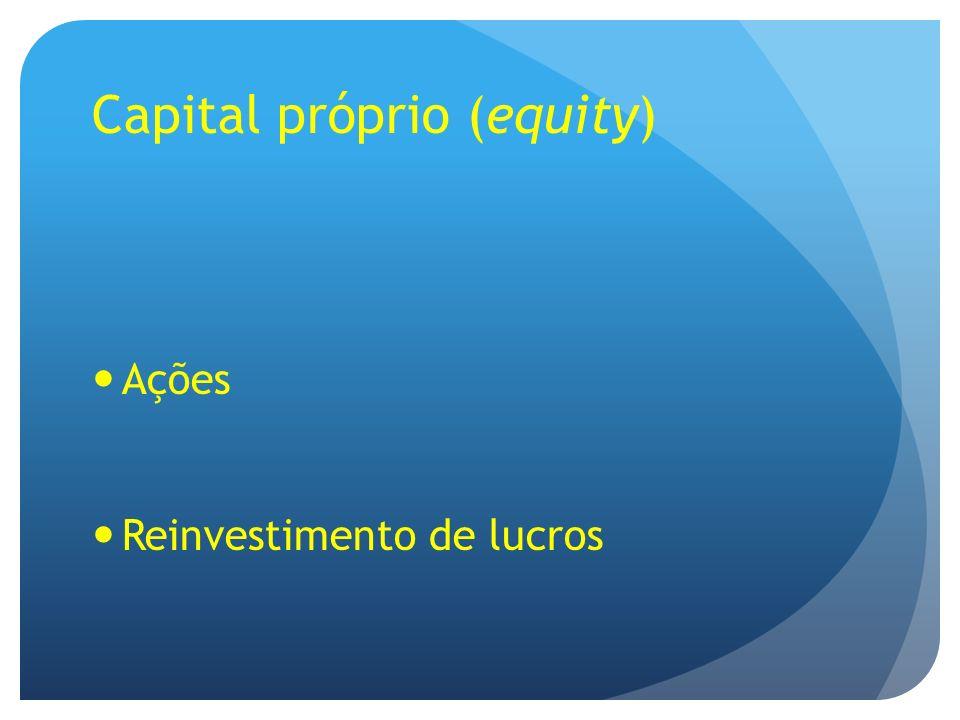 Capital próprio (equity) Ações Reinvestimento de lucros
