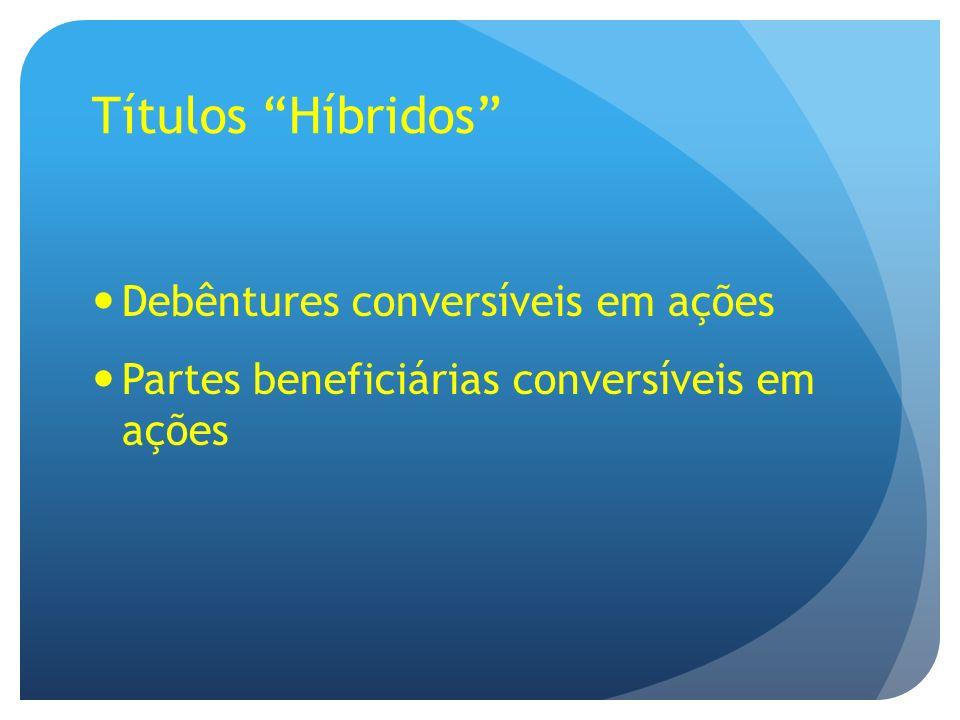 Debêntures conversíveis em ações Partes beneficiárias conversíveis em ações