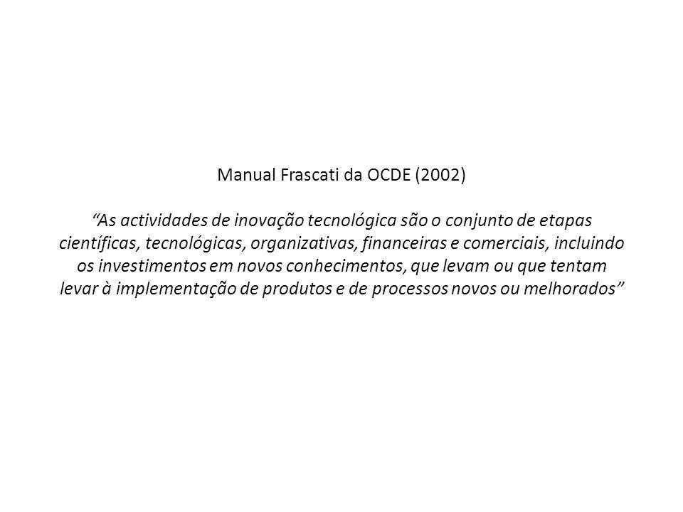 Manual Frascati da OCDE (2002) As actividades de inovação tecnológica são o conjunto de etapas científicas, tecnológicas, organizativas, financeiras e