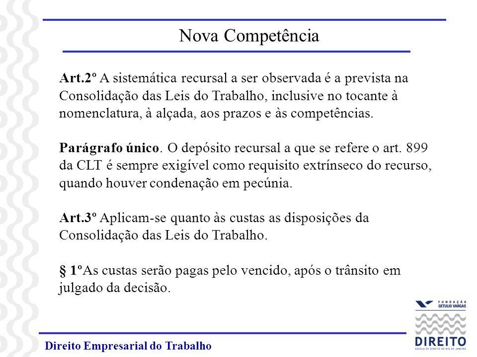 Direito Empresarial do Trabalho Art.2º A sistemática recursal a ser observada é a prevista na Consolidação das Leis do Trabalho, inclusive no tocante