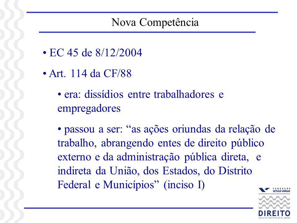 EC 45 de 8/12/2004 Art. 114 da CF/88 era: dissídios entre trabalhadores e empregadores passou a ser: as ações oriundas da relação de trabalho, abrange