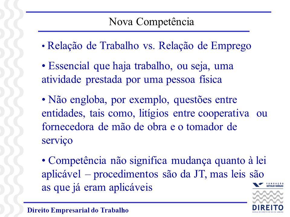 Direito Empresarial do Trabalho Relação de Trabalho vs. Relação de Emprego Essencial que haja trabalho, ou seja, uma atividade prestada por uma pessoa
