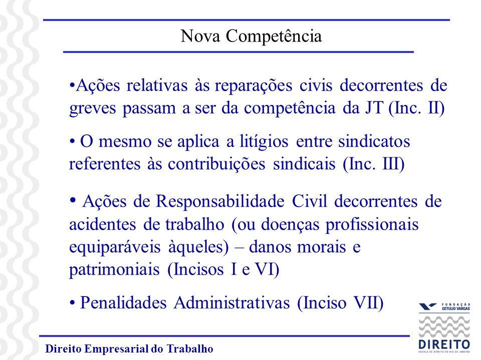 Direito Empresarial do Trabalho Ações relativas às reparações civis decorrentes de greves passam a ser da competência da JT (Inc. II) O mesmo se aplic
