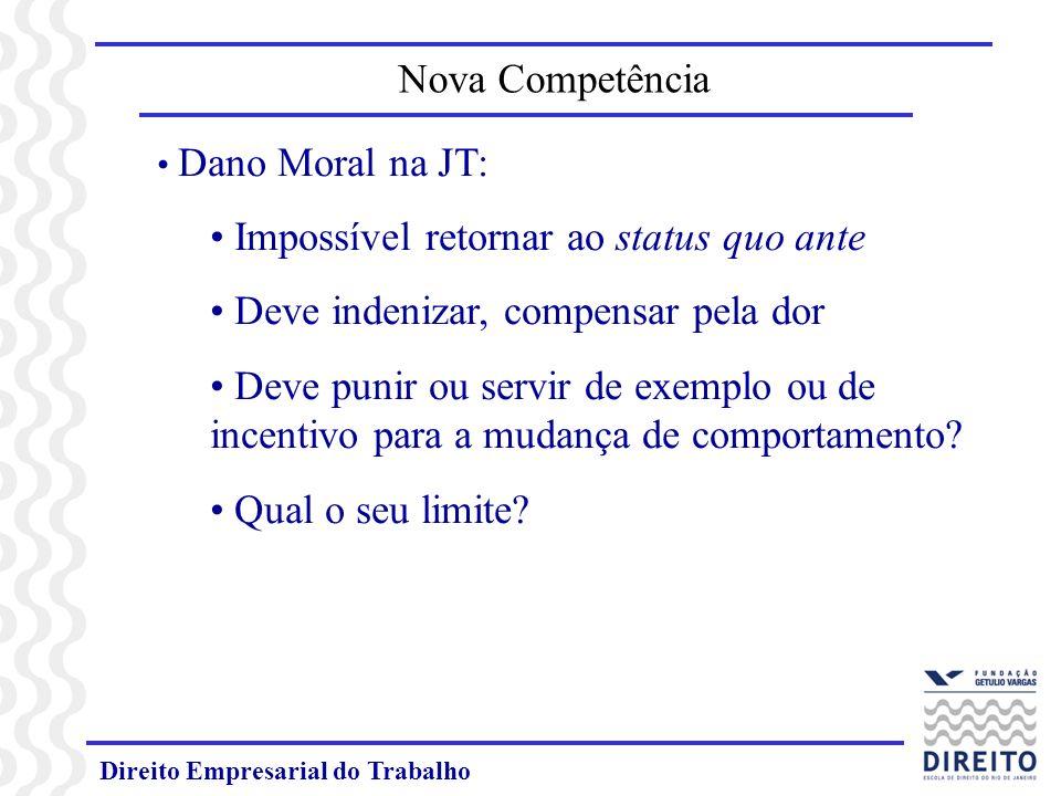 Direito Empresarial do Trabalho Dano Moral na JT: Impossível retornar ao status quo ante Deve indenizar, compensar pela dor Deve punir ou servir de ex
