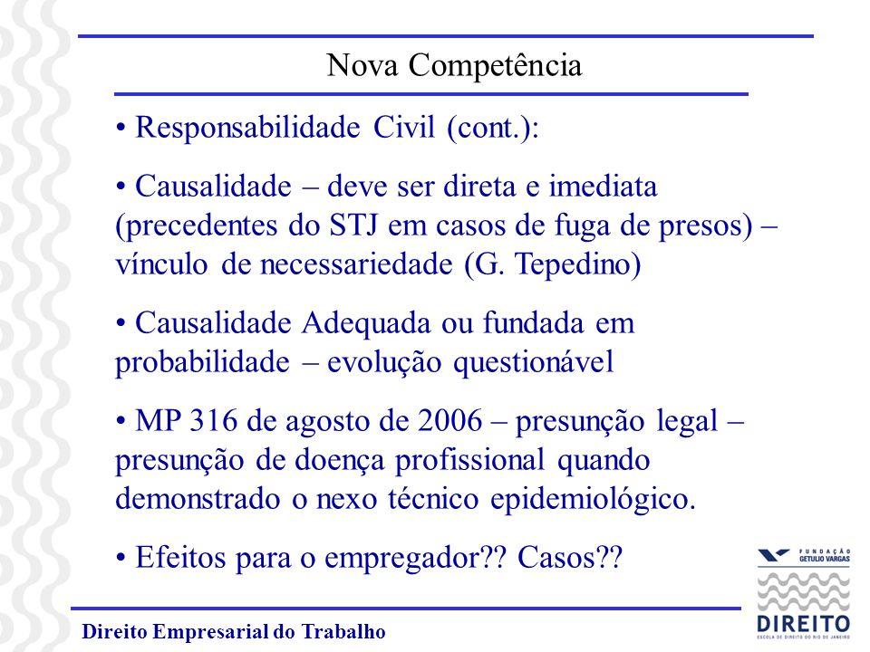 Direito Empresarial do Trabalho Responsabilidade Civil (cont.): Causalidade – deve ser direta e imediata (precedentes do STJ em casos de fuga de preso