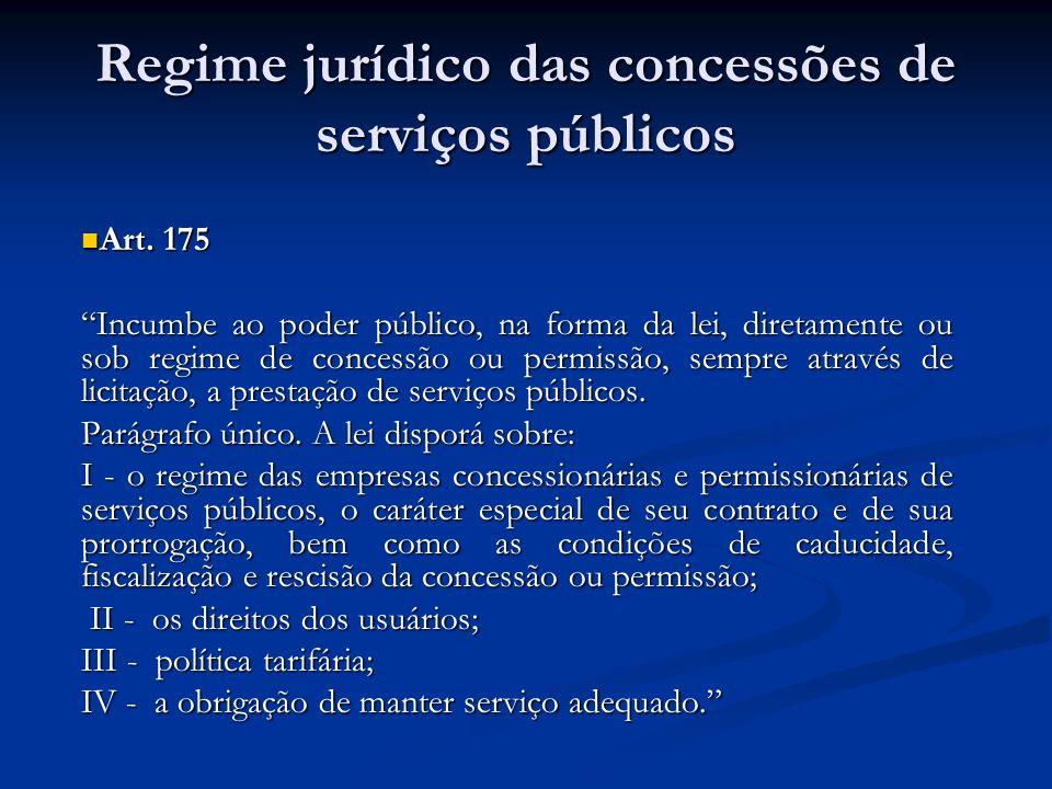 Regime jurídico das concessões de serviços públicos Art. 175 Art. 175 Incumbe ao poder público, na forma da lei, diretamente ou sob regime de concessã