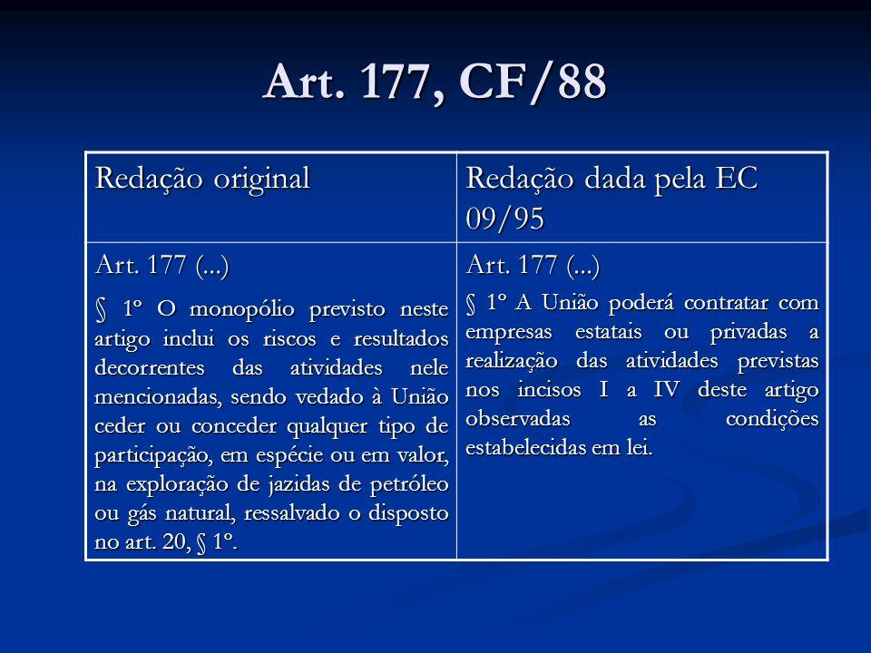 Art. 177, CF/88 Redação original Redação dada pela EC 09/95 Art. 177 (...) § 1º O monopólio previsto neste artigo inclui os riscos e resultados decorr