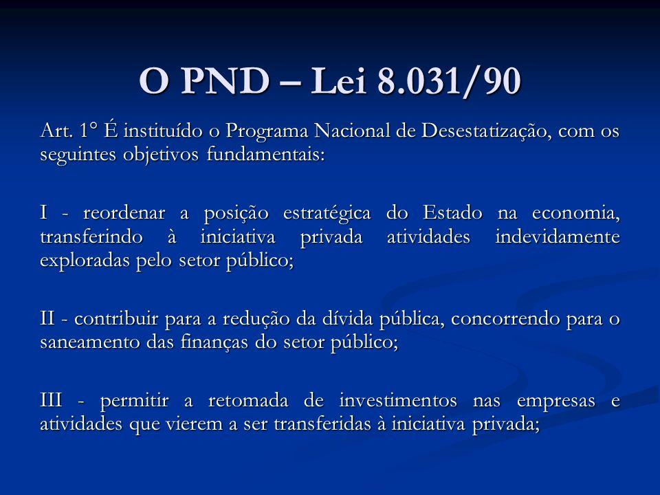 O PND – Lei 8.031/90 Art. 1° É instituído o Programa Nacional de Desestatização, com os seguintes objetivos fundamentais: I - reordenar a posição estr