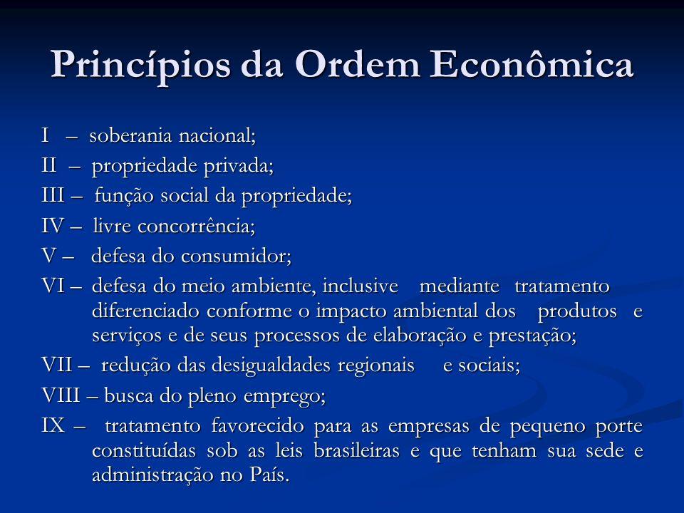 Princípios da Ordem Econômica I – soberania nacional; II – propriedade privada; III – função social da propriedade; IV – livre concorrência; V – defes