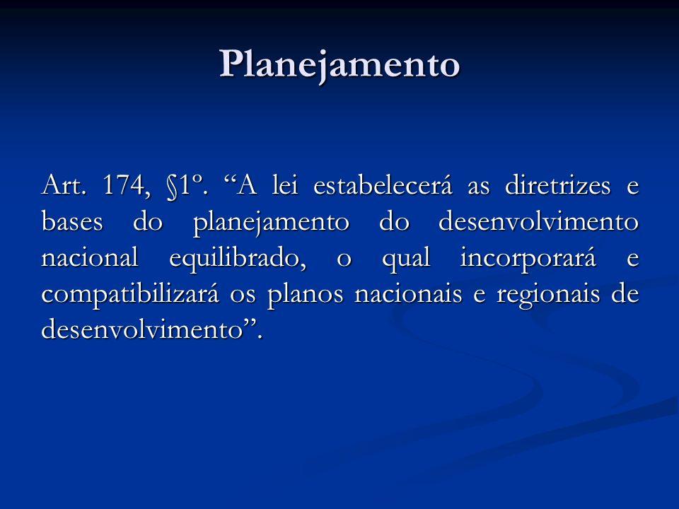 Planejamento Art. 174, §1º. A lei estabelecerá as diretrizes e bases do planejamento do desenvolvimento nacional equilibrado, o qual incorporará e com