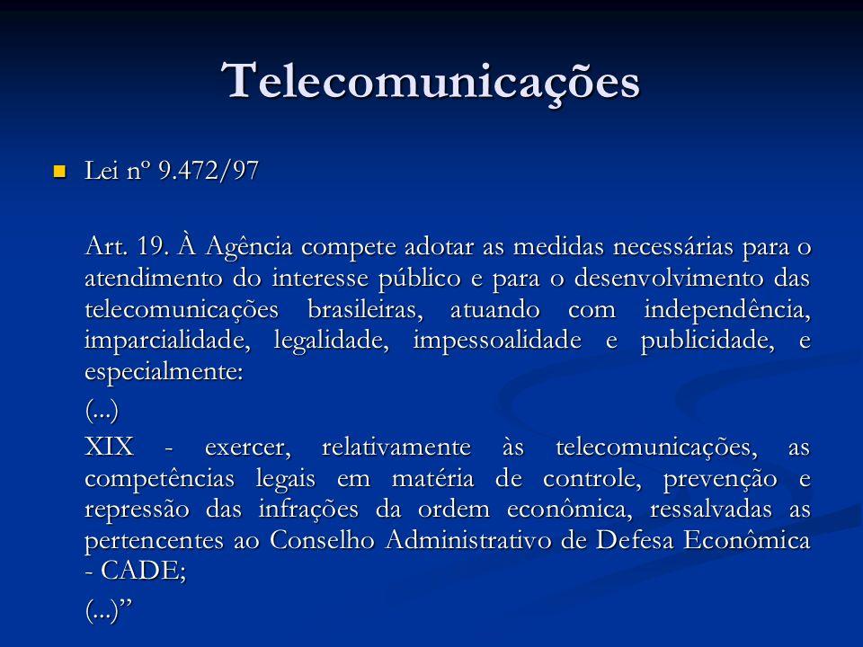 Telecomunicações Lei nº 9.472/97 Lei nº 9.472/97 Art. 19. À Agência compete adotar as medidas necessárias para o atendimento do interesse público e pa