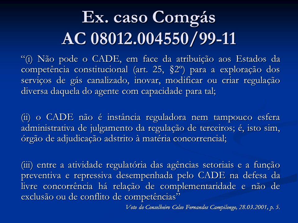 Ex. caso Comgás AC 08012.004550/99-11 (i) Não pode o CADE, em face da atribuição aos Estados da competência constitucional (art. 25, §2º) para a explo