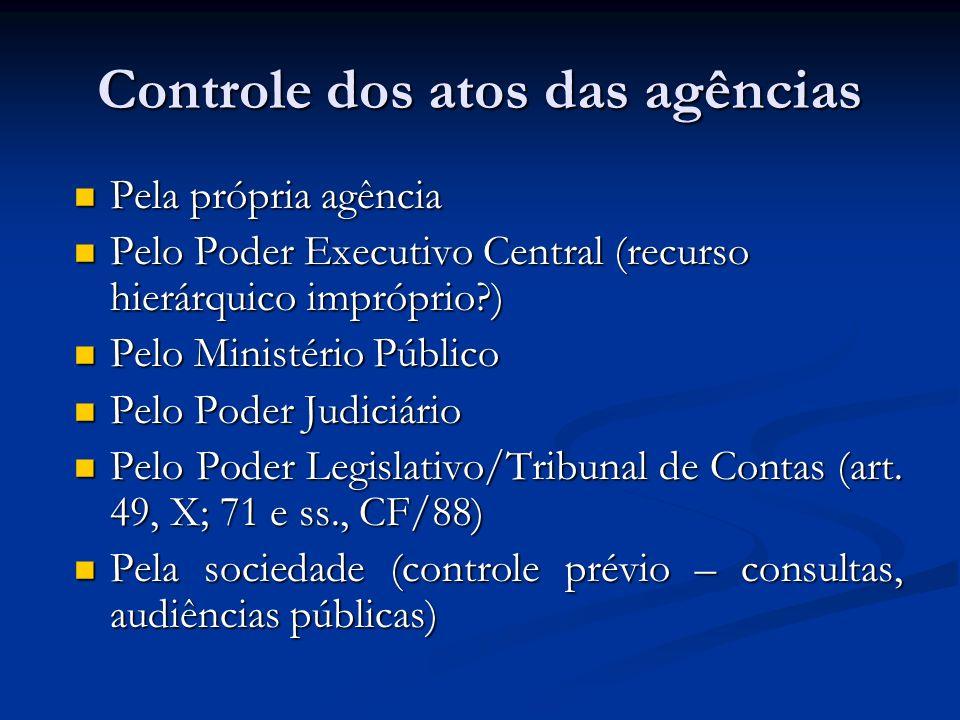 Controle dos atos das agências Pela própria agência Pela própria agência Pelo Poder Executivo Central (recurso hierárquico impróprio?) Pelo Poder Exec