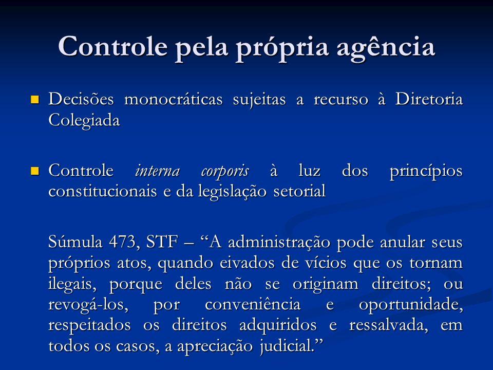 Controle pela própria agência Decisões monocráticas sujeitas a recurso à Diretoria Colegiada Decisões monocráticas sujeitas a recurso à Diretoria Cole