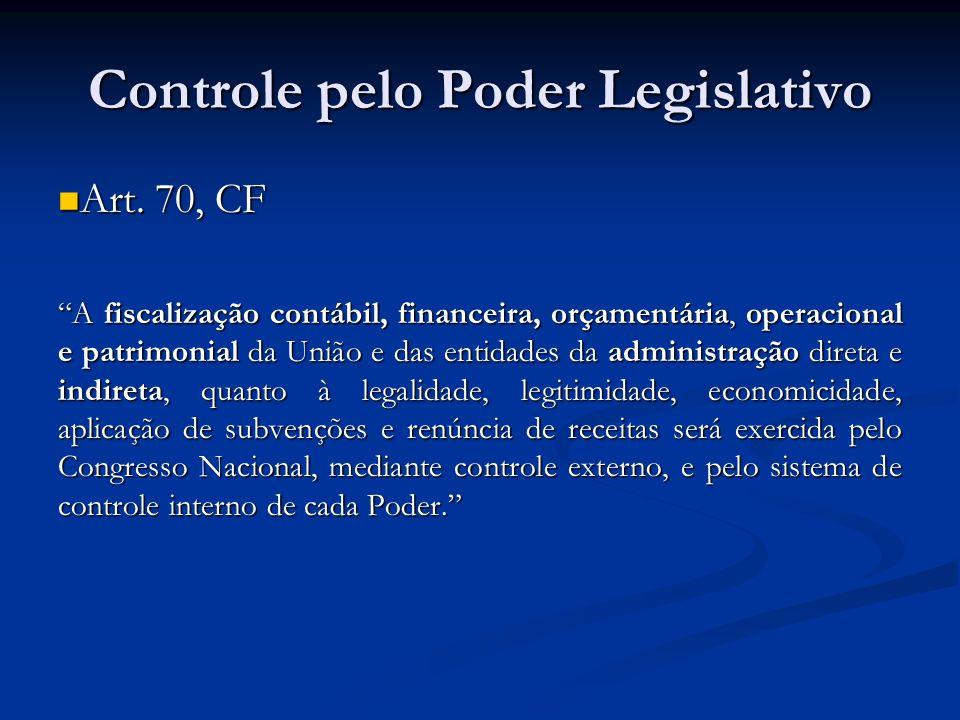 Controle pelo Poder Legislativo Art. 70, CF Art. 70, CF A fiscalização contábil, financeira, orçamentária, operacional e patrimonial da União e das en