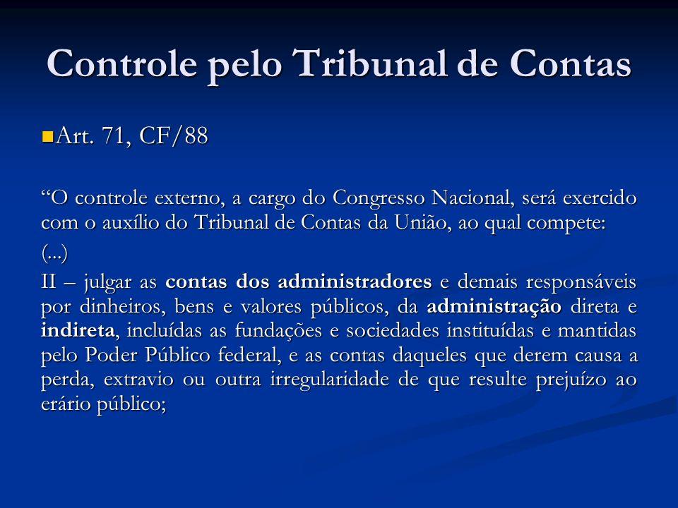 Controle pelo Tribunal de Contas Art. 71, CF/88 Art. 71, CF/88 O controle externo, a cargo do Congresso Nacional, será exercido com o auxílio do Tribu