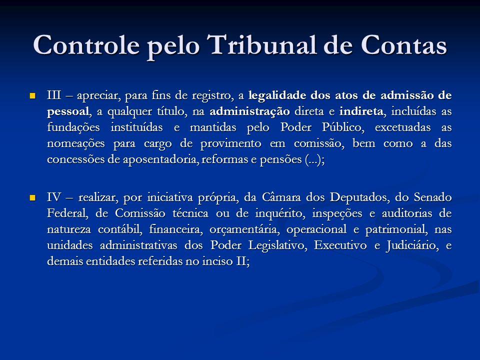 Controle pelo Tribunal de Contas III – apreciar, para fins de registro, a legalidade dos atos de admissão de pessoal, a qualquer título, na administra