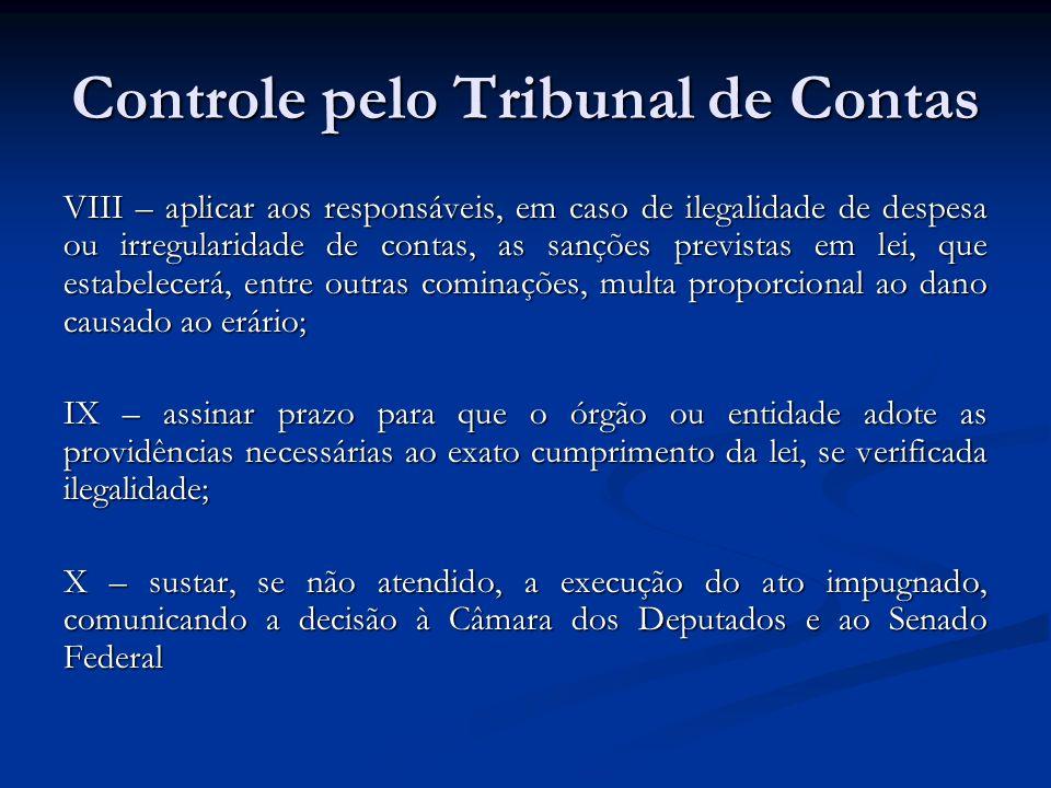 Controle pelo Tribunal de Contas VIII – aplicar aos responsáveis, em caso de ilegalidade de despesa ou irregularidade de contas, as sanções previstas