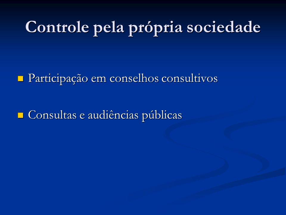 Controle pela própria sociedade Participação em conselhos consultivos Participação em conselhos consultivos Consultas e audiências públicas Consultas