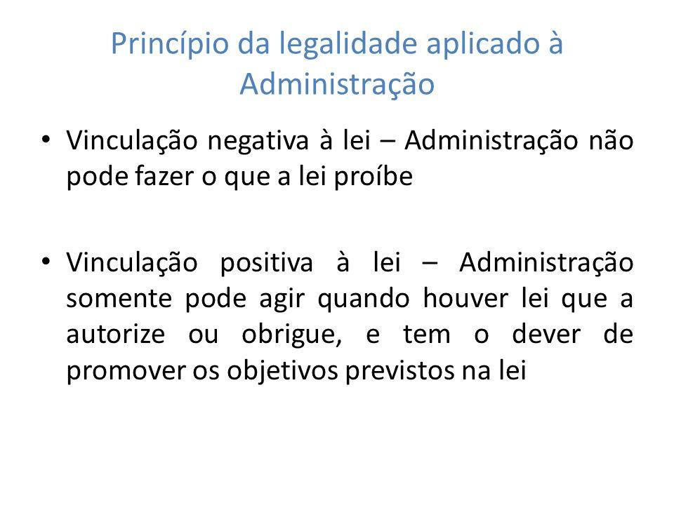 Princípio da legalidade aplicado à Administração Vinculação negativa à lei – Administração não pode fazer o que a lei proíbe Vinculação positiva à lei