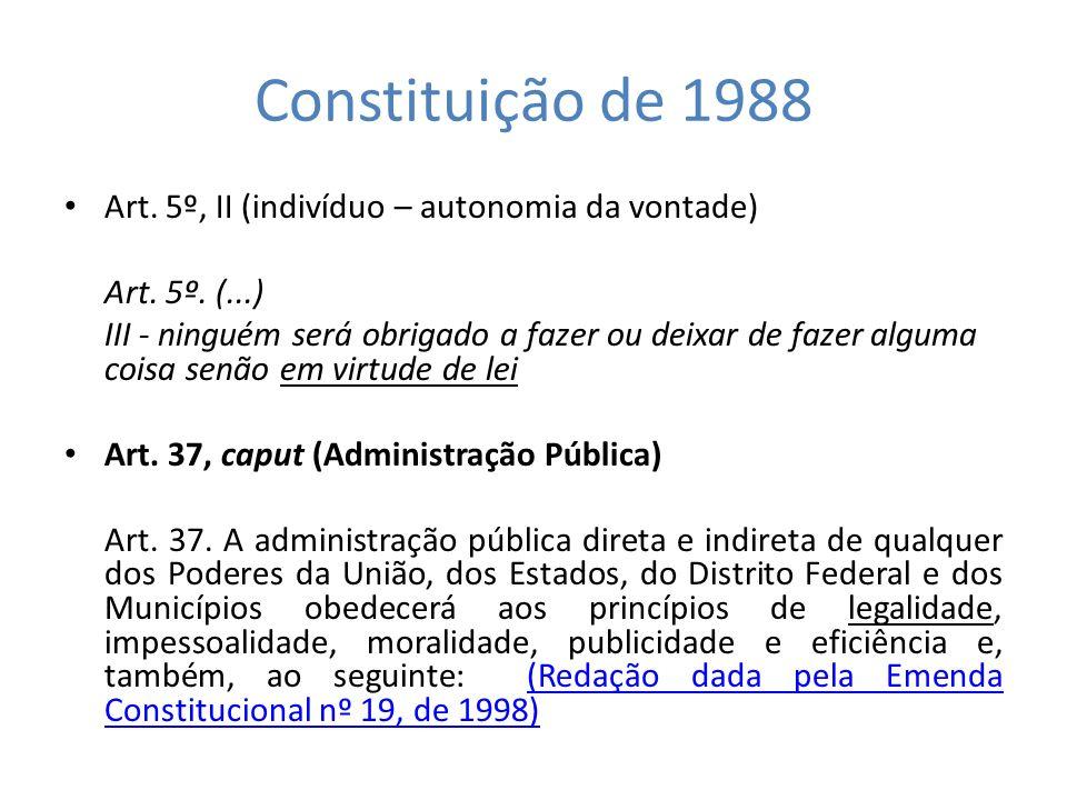 Constituição de 1988 Art. 5º, II (indivíduo – autonomia da vontade) Art. 5º. (...) III - ninguém será obrigado a fazer ou deixar de fazer alguma coisa