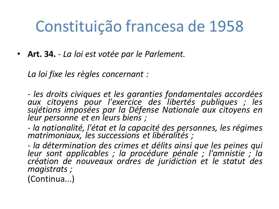 Constituição francesa de 1958 Art. 34. - La loi est votée par le Parlement. La loi fixe les règles concernant : - les droits civiques et les garanties