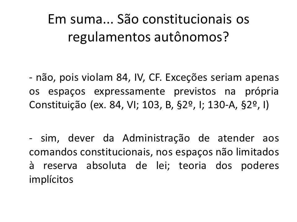- não, pois violam 84, IV, CF. Exceções seriam apenas os espaços expressamente previstos na própria Constituição (ex. 84, VI; 103, B, §2º, I; 130-A, §