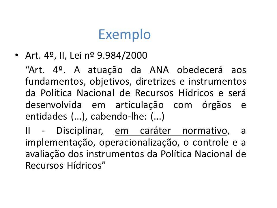 Exemplo Art. 4º, II, Lei nº 9.984/2000 Art. 4º. A atuação da ANA obedecerá aos fundamentos, objetivos, diretrizes e instrumentos da Política Nacional