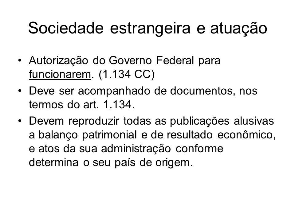 Sociedade estrangeira e atuação Autorização do Governo Federal para funcionarem. (1.134 CC) Deve ser acompanhado de documentos, nos termos do art. 1.1