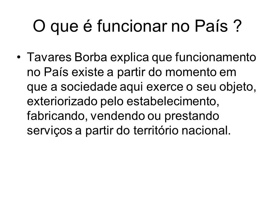 O que é funcionar no País ? Tavares Borba explica que funcionamento no País existe a partir do momento em que a sociedade aqui exerce o seu objeto, ex