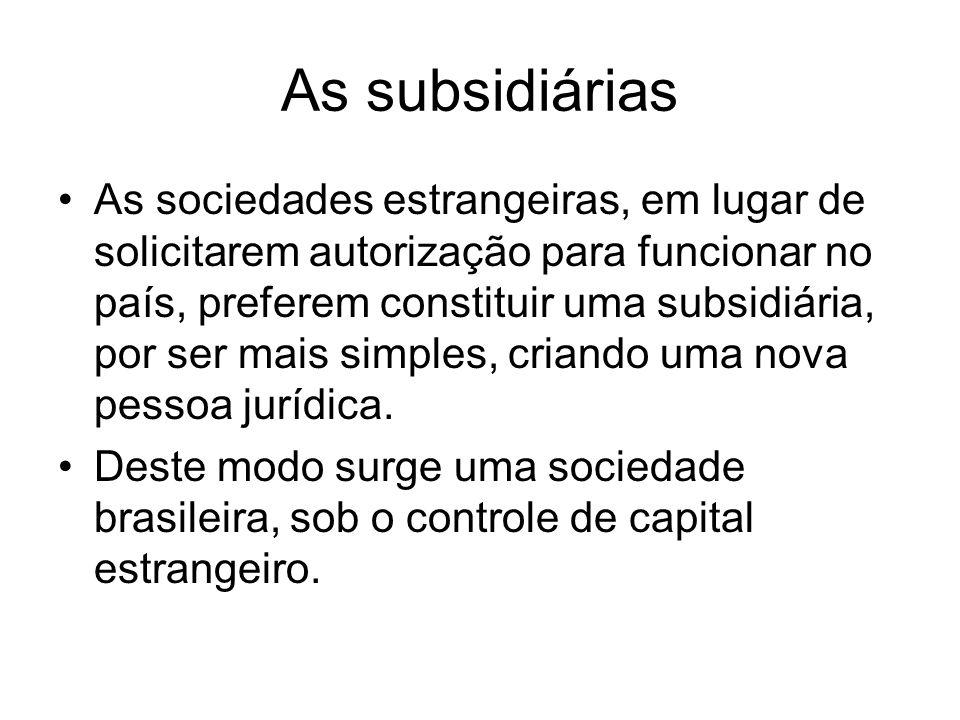 As subsidiárias As sociedades estrangeiras, em lugar de solicitarem autorização para funcionar no país, preferem constituir uma subsidiária, por ser m