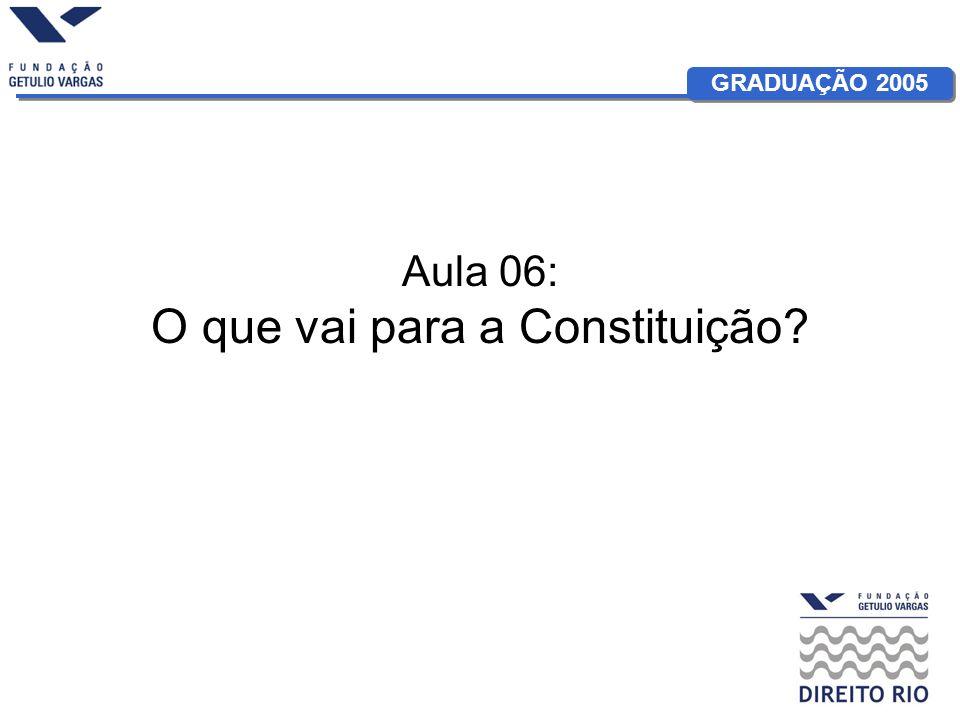 GRADUAÇÃO 2005 Aula 06: O que vai para a Constituição?