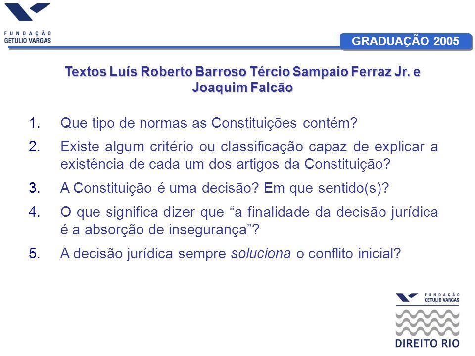 GRADUAÇÃO 2005 Textos Luís Roberto BarrosoTércio Sampaio Ferraz Jr. e Joaquim Falcão Textos Luís Roberto Barroso Tércio Sampaio Ferraz Jr. e Joaquim F
