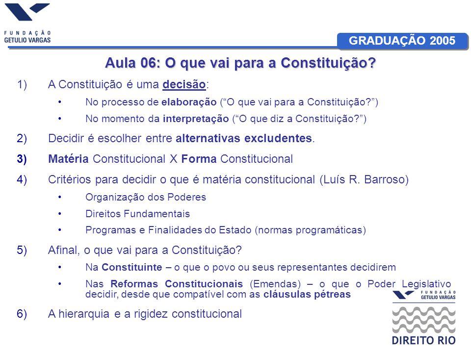GRADUAÇÃO 2005 Aula 06: O que vai para a Constituição? 1)A Constituição é uma decisão: No processo de elaboração (O que vai para a Constituição?) No m