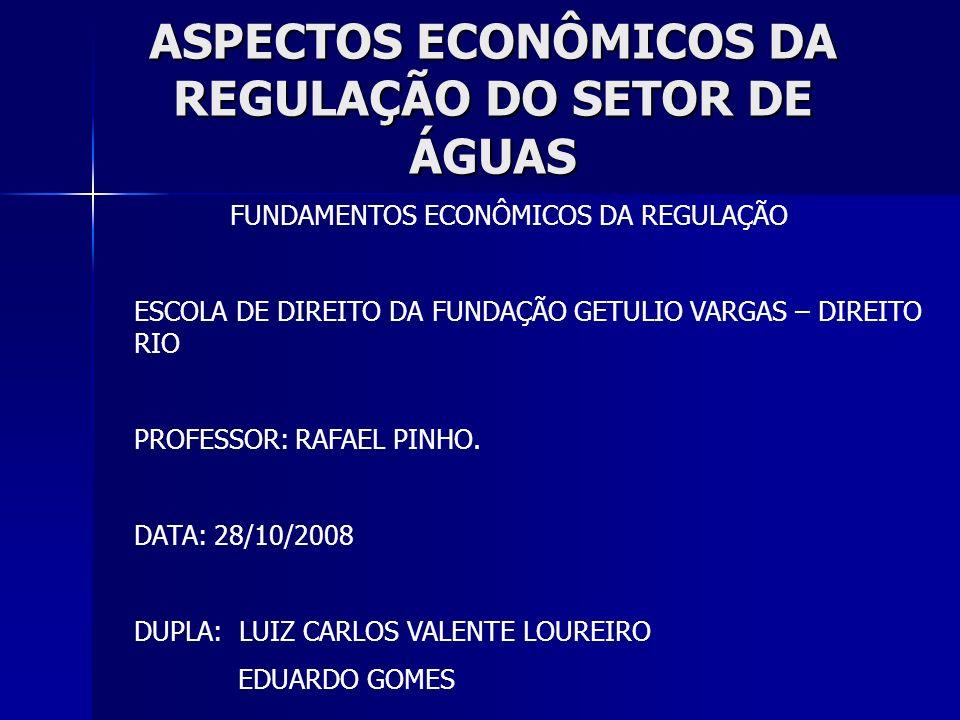 ASPECTOS ECONÔMICOS DA REGULAÇÃO DO SETOR DE ÁGUAS FUNDAMENTOS ECONÔMICOS DA REGULAÇÃO ESCOLA DE DIREITO DA FUNDAÇÃO GETULIO VARGAS – DIREITO RIO PROF