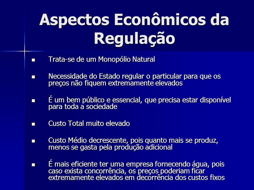 Aspectos Econômicos da Regulação Trata-se de um Monopólio Natural Trata-se de um Monopólio Natural Necessidade do Estado regular o particular para que