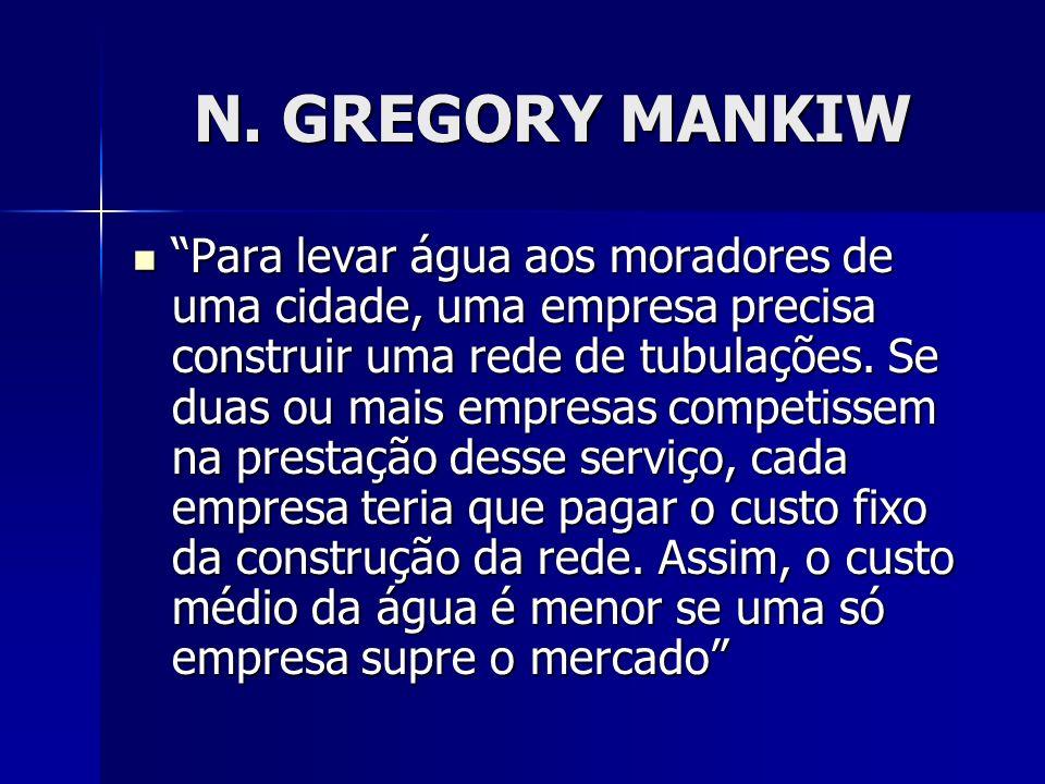 N. GREGORY MANKIW Para levar água aos moradores de uma cidade, uma empresa precisa construir uma rede de tubulações. Se duas ou mais empresas competis