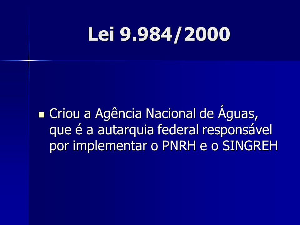 Lei 9.984/2000 Criou a Agência Nacional de Águas, que é a autarquia federal responsável por implementar o PNRH e o SINGREH Criou a Agência Nacional de