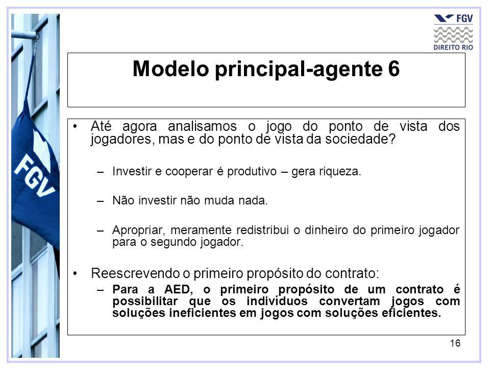 16 Modelo principal-agente 6 Até agora analisamos o jogo do ponto de vista dos jogadores, mas e do ponto de vista da sociedade? –Investir e cooperar é