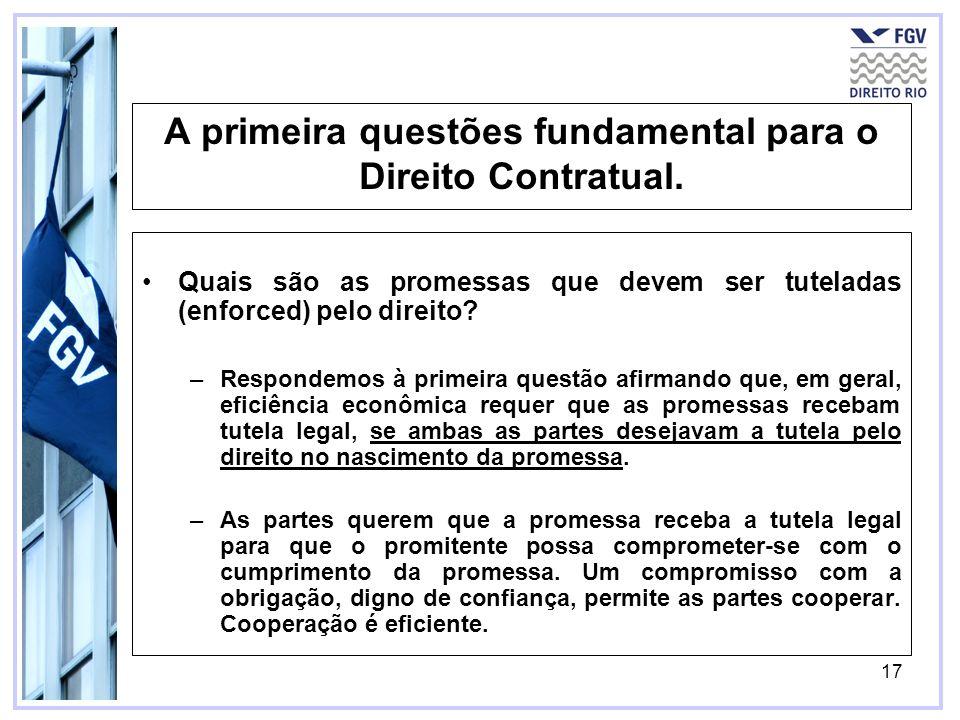 17 A primeira questões fundamental para o Direito Contratual. Quais são as promessas que devem ser tuteladas (enforced) pelo direito? –Respondemos à p