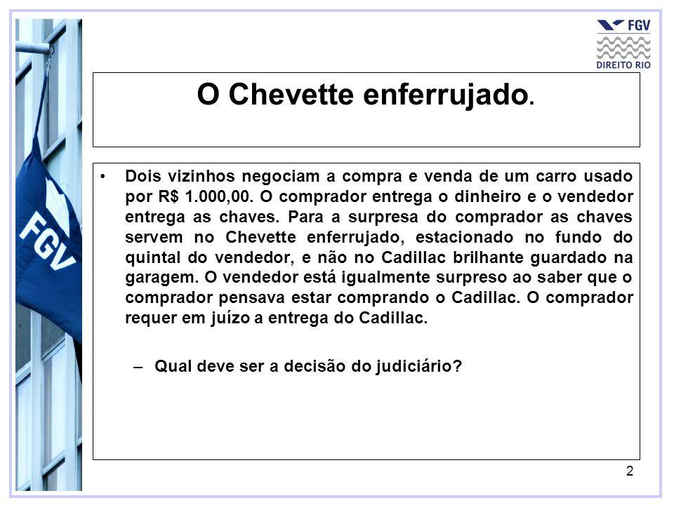 2 O Chevette enferrujado. Dois vizinhos negociam a compra e venda de um carro usado por R$ 1.000,00. O comprador entrega o dinheiro e o vendedor entre