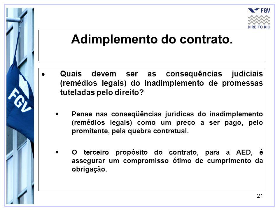 21 Adimplemento do contrato. Quais devem ser as consequências judiciais (remédios legais) do inadimplemento de promessas tuteladas pelo direito? Pense