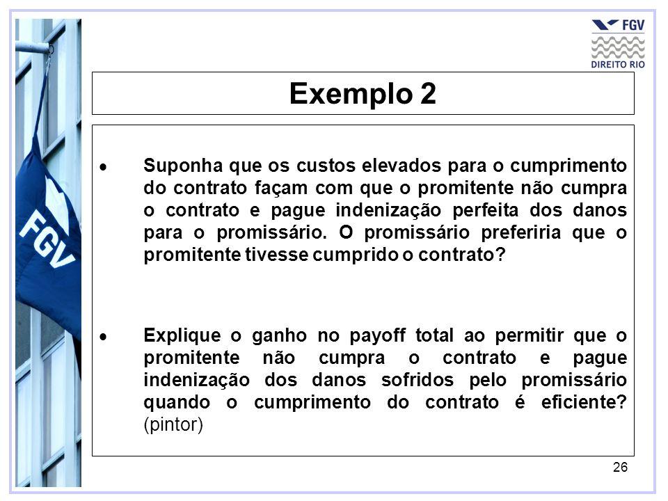 26 Exemplo 2 Suponha que os custos elevados para o cumprimento do contrato façam com que o promitente não cumpra o contrato e pague indenização perfei