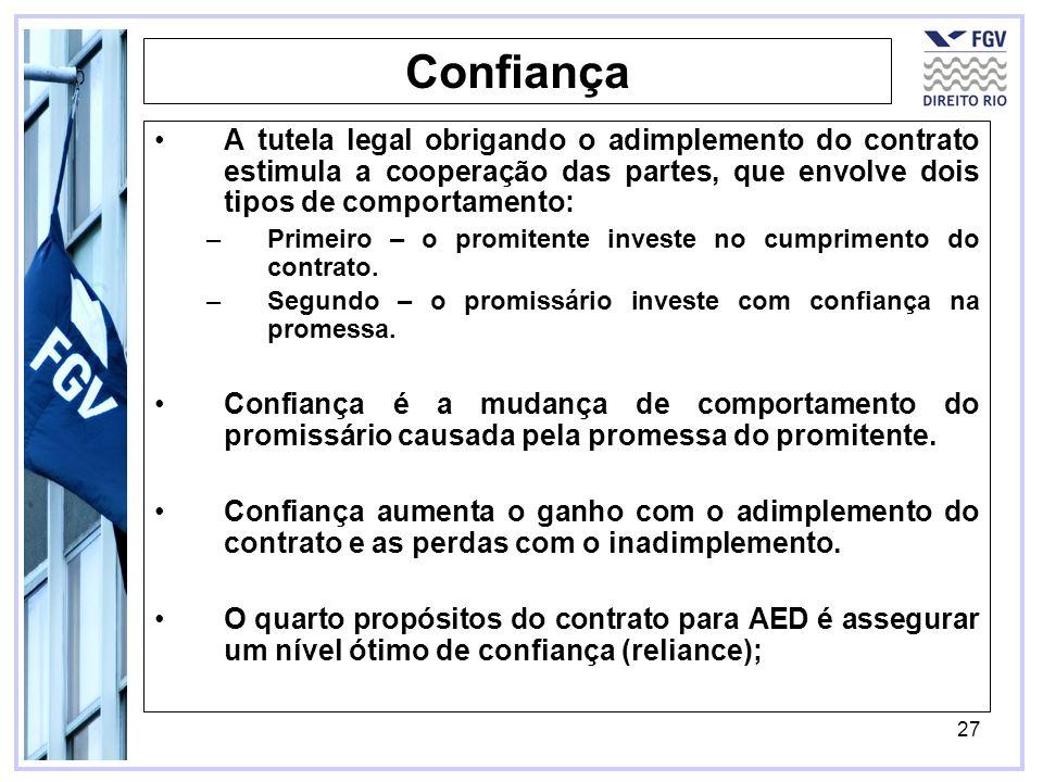 27 Confiança A tutela legal obrigando o adimplemento do contrato estimula a cooperação das partes, que envolve dois tipos de comportamento: –Primeiro