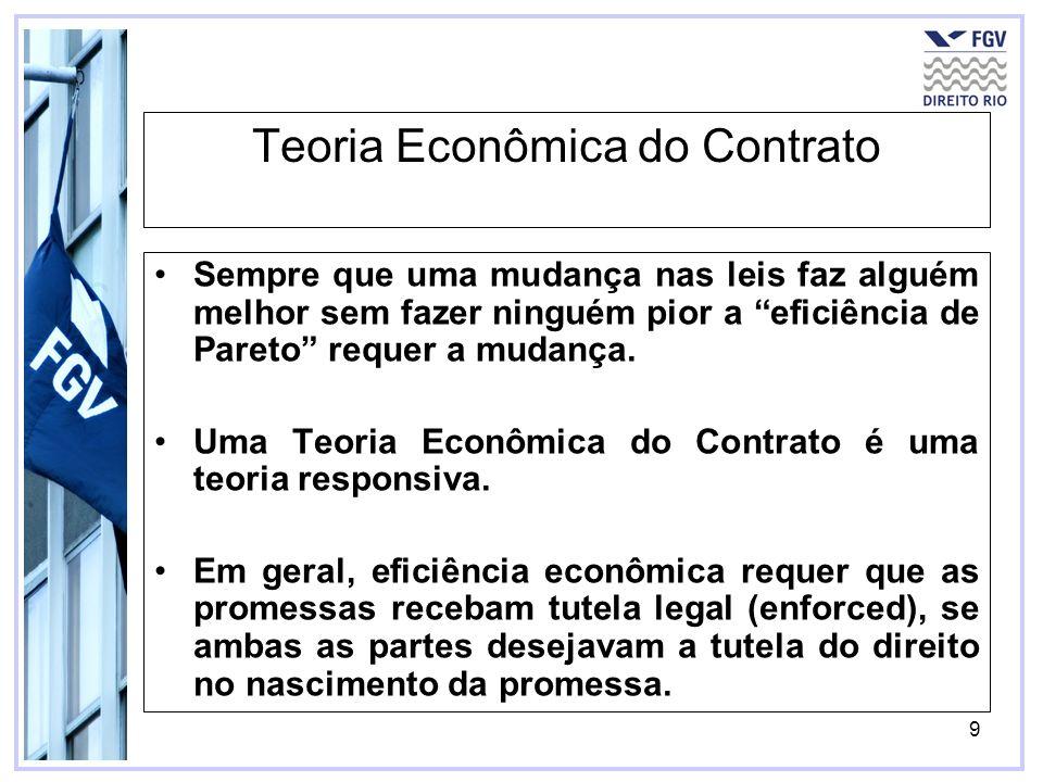 9 Teoria Econômica do Contrato Sempre que uma mudança nas leis faz alguém melhor sem fazer ninguém pior a eficiência de Pareto requer a mudança. Uma T