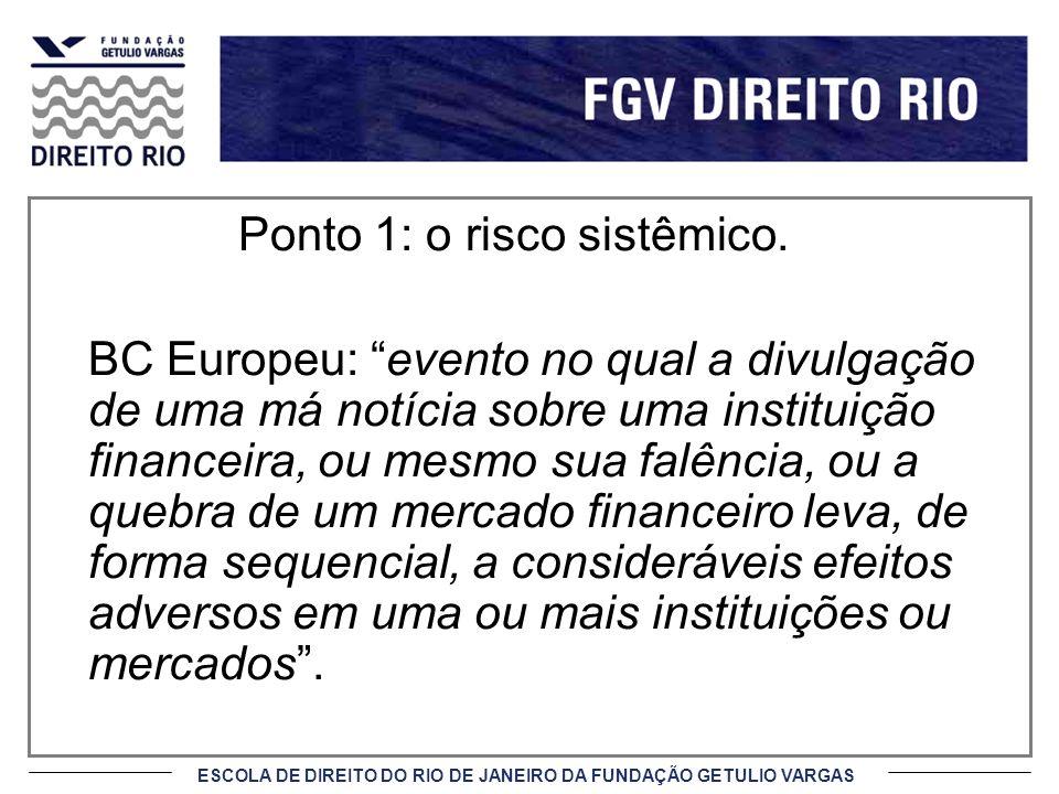 ESCOLA DE DIREITO DO RIO DE JANEIRO DA FUNDAÇÃO GETULIO VARGAS Ponto 1: o risco sistêmico. BC Europeu: evento no qual a divulgação de uma má notícia s