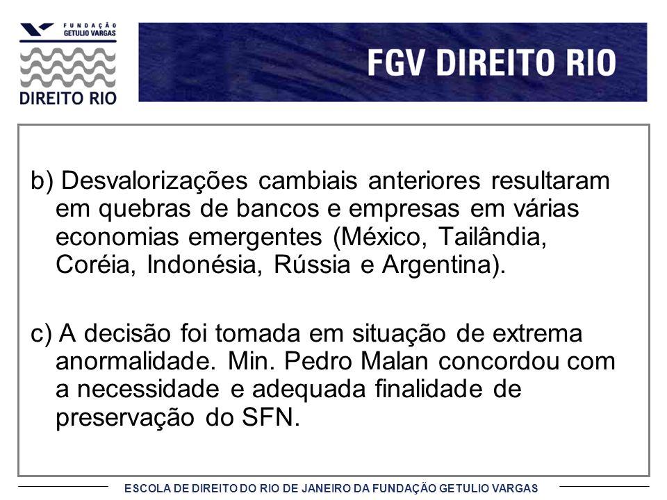 ESCOLA DE DIREITO DO RIO DE JANEIRO DA FUNDAÇÃO GETULIO VARGAS b) Desvalorizações cambiais anteriores resultaram em quebras de bancos e empresas em vá