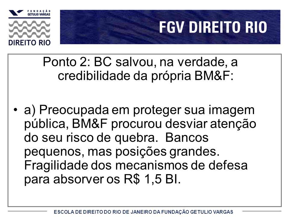 ESCOLA DE DIREITO DO RIO DE JANEIRO DA FUNDAÇÃO GETULIO VARGAS Ponto 2: BC salvou, na verdade, a credibilidade da própria BM&F: a) Preocupada em prote