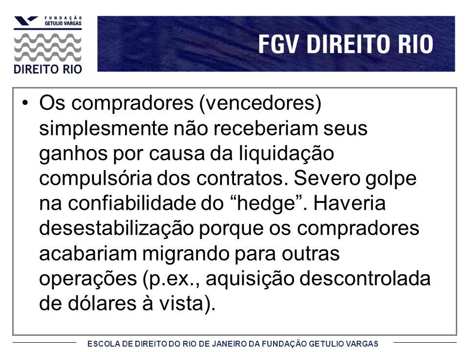 ESCOLA DE DIREITO DO RIO DE JANEIRO DA FUNDAÇÃO GETULIO VARGAS Os compradores (vencedores) simplesmente não receberiam seus ganhos por causa da liquid