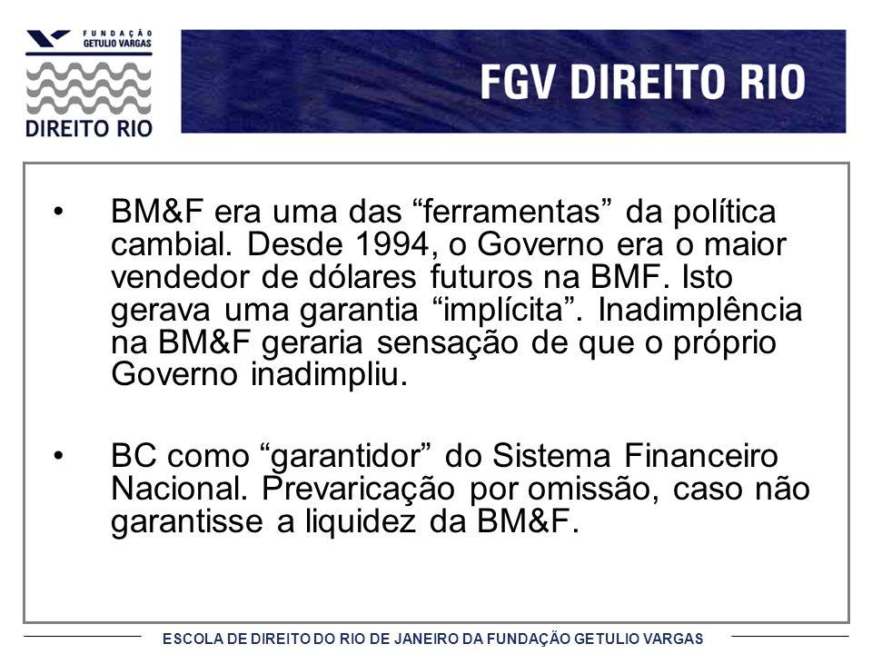 ESCOLA DE DIREITO DO RIO DE JANEIRO DA FUNDAÇÃO GETULIO VARGAS BM&F era uma das ferramentas da política cambial. Desde 1994, o Governo era o maior ven